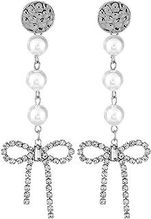Honghu Women Pearl Crystal Bowknot Gold Plated Drop Dangle Stud Earrings Boho Elegant