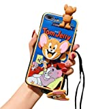 Tom&Jerry 3D Doll,Phone Holder,Necklace Strap Soft Case for iPhone 12 Pro max-12/pro-12 mini-11 Pro Max-11-11 Pro-XS Max-XR-X/XS-7/8 Plus (Jerry, 12 pro max)