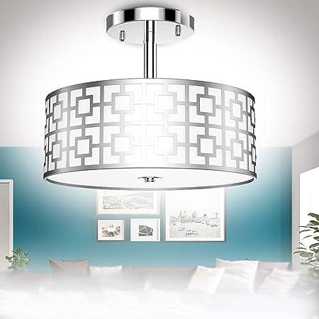 Depuley Lampe Plafonnier Chambre Classique, Lustre Plafond Cuisine Moderne, Design Métal Argent pour Salon et Salle à manger - SANS Ampoules E27 *3