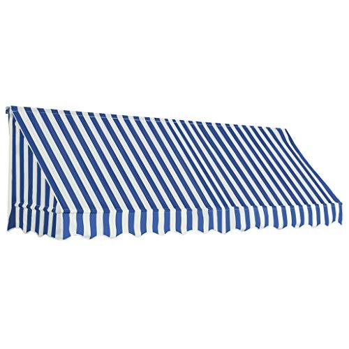 vidaXL Auvent de Bistro Porte 300x120 cm Bleu et Blanc Store Abri Soleil Ombre