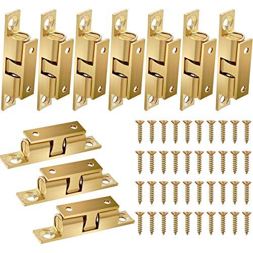10 PCS Cierres Puerta Latón Macizo Doble Bola Pestillos Bola Acero para Puerta de Armario Muebles Baño Cerradura 42mm
