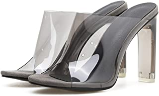 Cosplay-X Women's Sexy Mule Shoes Clear Open Toe Chunky High Heels Mules High Heels Slip on Slide Sandals