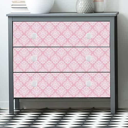 DesignDivil Självhäftande kungligt mönstrat rosa matt vinyl luftlease möbelklistermärke omslag. UC014 (stor 2,5 x 71 cm x 55,8 cm)