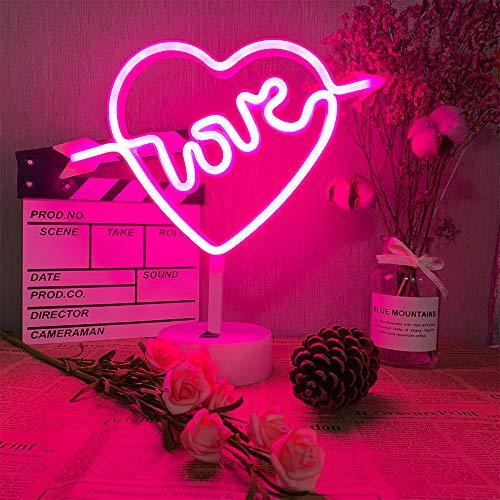Amor luz de neón de luz de la noche con pedestal Corazón Cupido luz de neón de la decoración del sitio de la batería y USB Powered signos de neón rosada Lámparas de luz de color rosa hasta Dormitorio