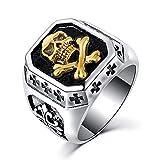 BOBIJOO Jewelry - Bague Chevalière Tête de Mort Argenté Or Croix Templiers Acier Inoxydable Biker - 63 (10 US), Doré Or Fin - Acier Inoxydable 316