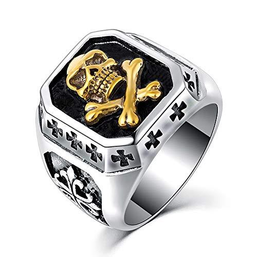 BOBIJOO JEWELRY - Ring Siegelring Totenkopf Silber Gold Kreuz Templer Edelstahl Biker - 21,6 (12 US), Vergoldet - Edelstahl 316