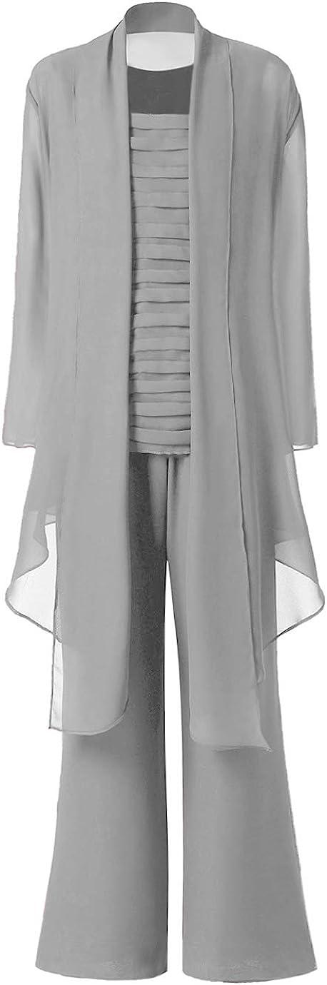 Vincent Bridal Women's Elegant Ruffles Jumpsuit 3 Pieces Mother of The Bride Dress Pant Suits for Women Party Wedding