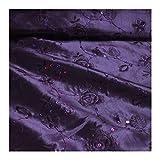 Stoff Polyester Kleidertaft lila Stickerei Rose Paillette
