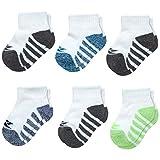 Reebok Boys 6 Pack Comfort Cushion Quarter Cut Socks (Infant/Toddler) (White, 12-24 Months)