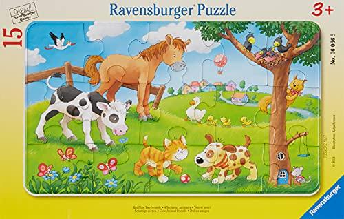 Ravensburger Kinderpuzzle - 06066 Knuffige Tierfreunde - Rahmenpuzzle für Kinder ab 3 Jahren, mit 15 Teilen