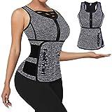 FeelinGirl Waist Trainer for Women Vest Plus Size Workout Neoprene Sauna Sweat Suit Zipper Trimmer Gray 4XL