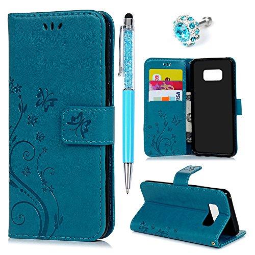 YOKIRIN Hülle Kompatibel für Samsung Galaxy S8 Wallet Hülle Schmetterling Blumen Flipcase PU Leder Ständer Schutz Etui Schale Bookstyle Schutzhülle Ständer Magnetverschluß Karteneinschub Blau