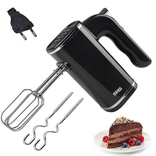 Edelstahl Elektrischer Handmixer, Elektrische Handrührer zum Backen von Küchenkuchen, 500Watt, Knethaken, Rührbesen, Auswurftaste, Mixer, 5 Geschwindigkeiten plus Turbo, schwarz