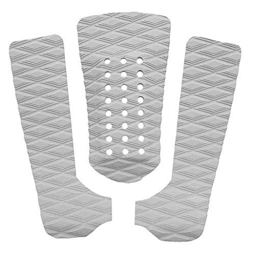 Perfeclan 3 Piezas De Tabla De Surf Tracción Tail Mat Deck Grip Stomp Pad - Naranja/Blanco - Blanco