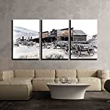 wall26 - 3 Piece Canvas Wall Art - Cody, Wyoming, Old Wooden Wagons in a Ghost Town, United States - Modern Home Art Stretched and Framed Ready to Hang - 24'x36'x3 Panels