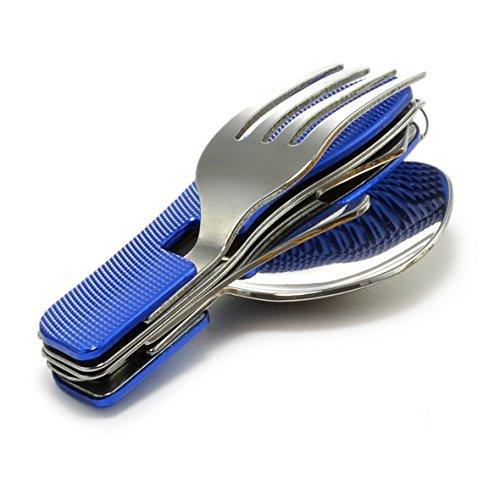 4 pièces – Camping Couverts avec poignée en aluminium (Couteau, fourchette, cuillère, décapsuleur en acier inoxydable), à rabat – Couverts, Couleur Bleu Métallisé, Ganzoo