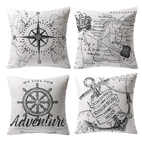 4 Pack Oceano Serie Brújula Mapa Ancla Navegación Algodón Lino Throw Pillow Case Funda de Almohada para Cojín 45x45 cm
