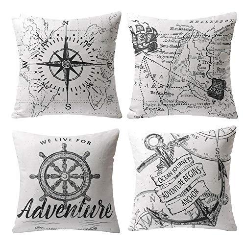 Gspirit 4 Pack Oceano Serie Brújula Mapa Ancla Navegación Algodón Lino Throw Pillow Case Funda de Almohada para Cojín 45x45 cm