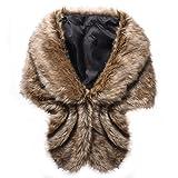 Chal para mujer, piel sintética, bufanda Marrón marrón Talla única