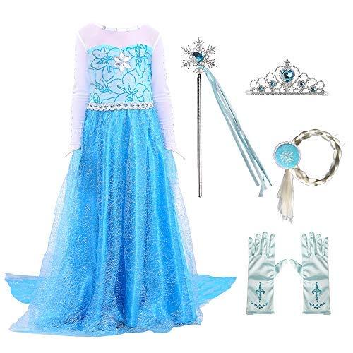 AISHN Disfraz de princesa Elsa para nias pequeas, disfraz de Anna, fiesta de nieve, reina de Halloween