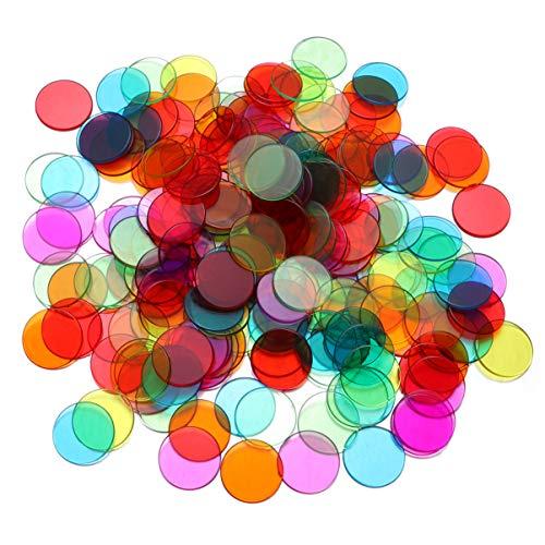 Tomaibaby 300Pcs 19Mm Transparente Farbanzahl Bingo Chips Bingo Spielkarten Plastik Bingo Marker für Karneval Bingo Spiele (Blau Rot Gelb Grün Lila Orange)