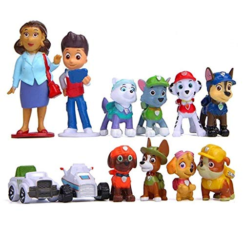Funnyshow 12 pièces Paw Patrol Figurines, Figurines Pat Patrouille Jouets de Fête d'anniversaire
