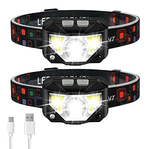 Headlamp Flashlight, LHKNL 1100 Lumen Ultra-Light Bright LED Rechargeable Headlight with White Red Light, 2-PACK Waterproof Motion Sensor Head Lamp, 8 Modes for Outdoor Camping Running Cycling Fishing