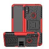 LIWIN Moda Armadura híbrida de Doble Capa Armadura a Prueba de Golpes Anti-Scratch TPU + PC Estuche Protector para Motorola Moto One Power/Moto P30 Note, con Soporte (Color : Rojo)
