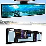 NINGFIST 12inch Rear view Mirror Rearview Mirror Wide Angle Broadway Panoramic Anti Glare Mirror Blindspot Accessories Universal Interior Car Convex Mirror for Car SUV Trucks.