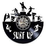 LKJHGU Reloj de Pared de Surf Retro Disco de Vinilo Surf Verano Tiempo de Playa Silueta Reloj de Pared 3D Reloj de Pared Sala de Estar decoración del Dormitorio