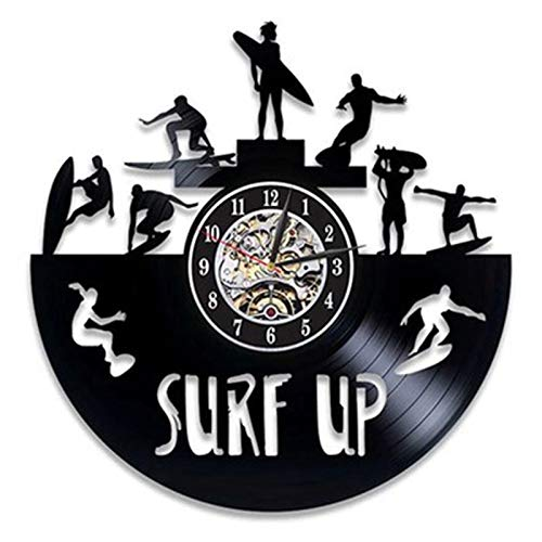 LKJHGU Reloj de Pared de Surf Retro Disco de Vinilo Surf Verano Tiempo de Playa Silueta Reloj de Pared 3D Reloj de Pared Sala de Estar decoración del Dormitorio