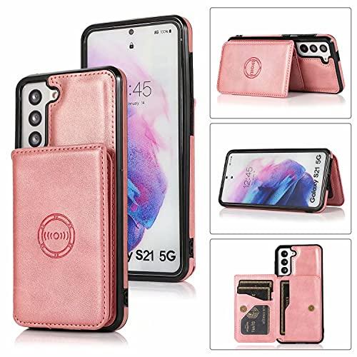 Molg Compatible con Funda Samsung Galaxy S21 Ultra 5G Cuero De La PU Cartera Magnética [Portatarjetas] [Cierre Magnético] con Soporte para Coche Antigolpes Caso-Oro Rosa
