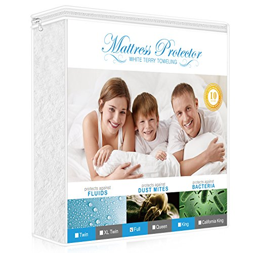 Lighting Mall Premium Full Mattress Protector, 100% Waterproof Hypoallergenic Mattress Cover with Cotton Terry Surface, Breathable, Vinyl Free, 10 Year Warranty Offered