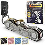 Carbon Fiber Key Organizer - Premium Heavy Duty Compact Key Holder up to 20 Keys - Multifunctional Sim & Bottle Opener + Video Instructions