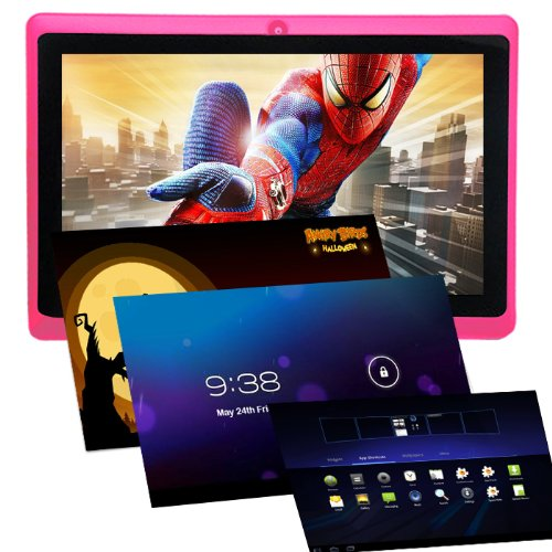 Haehne 7 Zoll Tablet PC, Google Android 4.4, Quad Core A33, 512MB RAM 8GB ROM, Dual Kameras, WiFi, Bluetooth, Kapazitiven Touchscreen, Pink