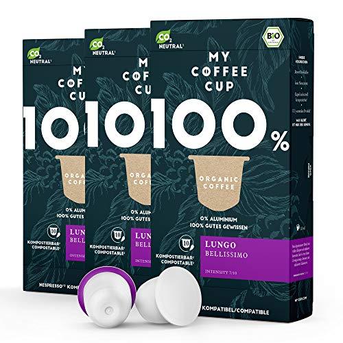 My Coffee Cup – LUNGO BELLISSIMO – BIO-KAFFEE 3 PACKUNGEN I 30 Kaffeekapseln für Nespresso®³-Kapselmaschinen I 100% industriell kompostierbare Kaffeekapseln – 0% Alu I Nachhaltige Kaffeekapseln
