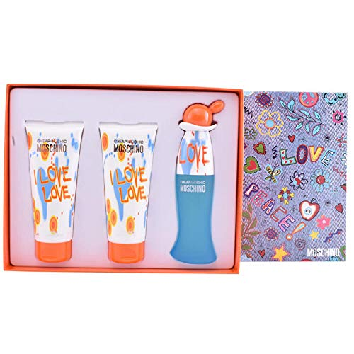 Moschino I love Love for Women 3 Pieces Gift Set (1.7 Eau De Toilette/3.4 Perfumed Body Lotion/3.4 Perfumed Shower Gel)