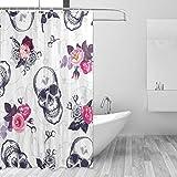 DEZIRO Suger Totenkopf Muster Polyester Badvorhang Duschvorhang wasserdicht frei von PVC Chlor & chemischem Geruch ungiftig 152,4 x 182,9 cm