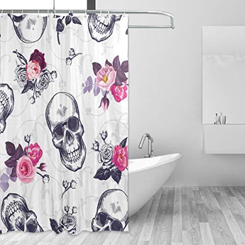 DEZIRO Suger Totenkopf Muster Polyester Badvorhang Duschvorhang wasserdicht frei von PVC Chlor und chemischem Geruch ungiftig 152,4 x 182,9 cm
