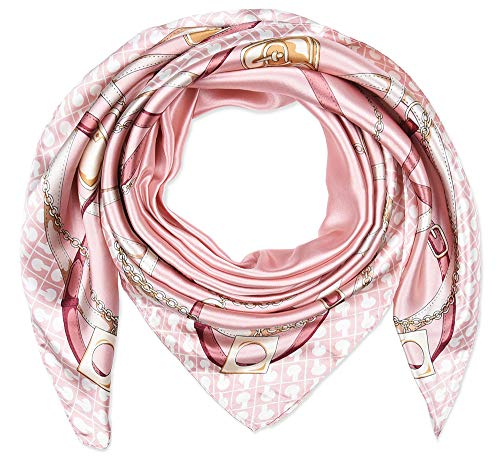 Corciova 35 x 35 Women Polyester Silk Feeling Hair Scarf for Sleeping Pale Pink Chains and Belts