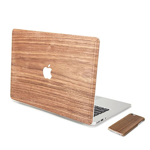 GMYLE 2 in 1 Bundle Genuine Walnut Wood Skin Cover Decal for MacBook Air 13 inch (Model no.: A1369, A1466) & Deep Wood Pattern Slim Hard Back Case for iPhone 6 / 6s