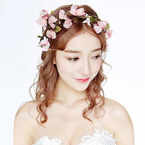 &Coiffe de corolle Couronne de fleurs, Bandeau Fleur Garland Fête de mariée à la main à la main Fait bande Bandeau Bracelet Bande de cheveux ( Couleur : Rose )
