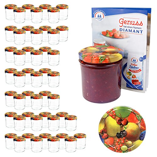 MamboCat 50er 350 ml Sturzglas-Set | Einmachgläser + Twist-Off-Deckel Obst gelbe Birne + GRATIS Rezeptheft | einkochen & konservieren | backofengeeignet