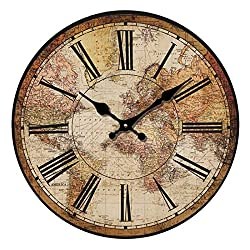 HUABEI Retro Wall Clock, Vintage World Compass Map Travel Lover Inch Silent Wooden Wall Art Decor Analog Battery Operated Non-Ticking Bedroom Living Room Kitchen Office (12'')
