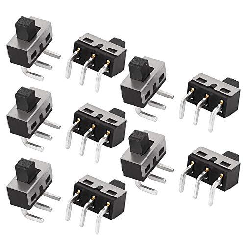 Agger Interruptor de Palanca SPDT Micro Interruptor Deslizante del conmutador de posición de alimentación de Enclavamiento (10PCS)