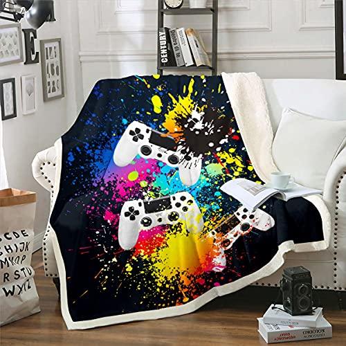 Manta de forro polar para juegos de niños, niñas, controladora de juegos para sofá cama, colorido Splash King 87 x 94 pulgadas