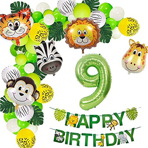 Jungle Birthday Party Decorations, Safari Balloons Garland Arch Kit Supplies, The African Grassland Wild Animals Balloons, Green Artificial Palm Leaves for Boys, Girls, Kids, Teens (9th)