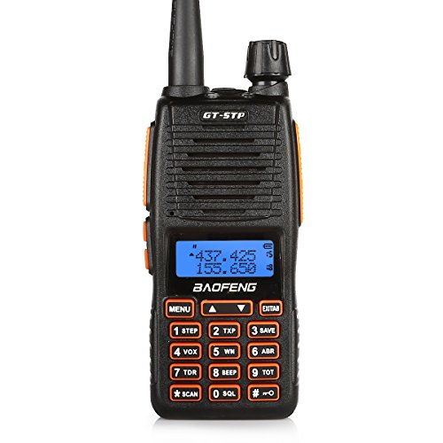 BaoFeng GT-5TP 8W/4W/1W Tri-Power UHF VHF Dual Band Amateur Ham Radio Handheld Two Way Radio Walkie Talkie with Earpiece + 2000mAh Battery + Dual PTT