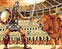 DIY 数字油絵 キャンバスの油絵 ライオン戦士との戦い 数字キットによる絵画手塗り DIY絵 デジタル油絵塗り絵 キッズバースデーギフト 40x50 cm(フレーム付き)