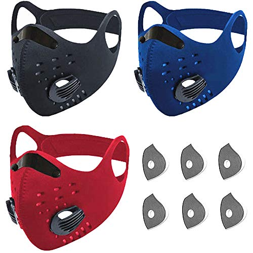 Sports_Dust_Mask_Filter_Reusable_Activated Carbon_Breathing Valve_Outdoors Sports_Half Face Protection Mask_Light Weight Earloop Anti Smoke for Men and Women